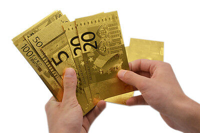 24K Golden Euro Banknotes Money €5 €10 €20 €50 €100 €1000 [NEW WITH CERTIFICATE]