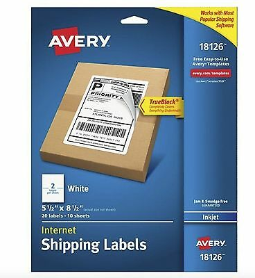 Avery 18126 Internet Shipping Labels 20 TrueBlock Technology, 5-1/2 x 8-1/2 New