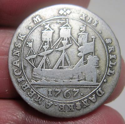 1767 (DANISH WEST INDIES) 12 SKILLING (SILVER) ---One year type Rare---