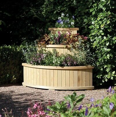Raised Garden Planter Outdoor Wooden Patio Large Herb Stand Flowers Bed Step Box