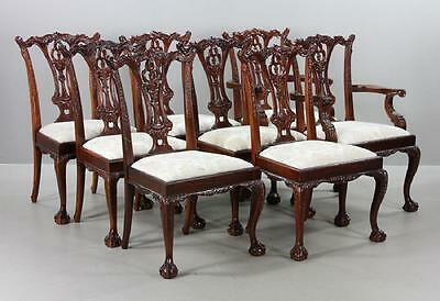 Set of 8 Solid Mahogany Chippendale Style Dining Chairs Williamsburg Style