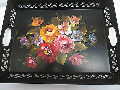 Vivid Vintage Black Metal Hand Painted Tole Serving Tray rb2