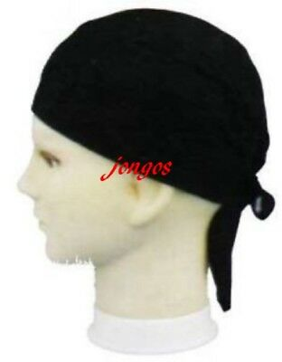 USA BLACK  Solid Fitted COTTON Bandana headwrap  DURAG Skull Cap