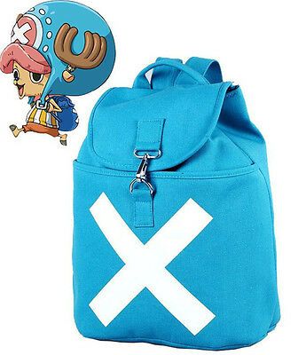 One Piece Schoolbag Anime Blue Backpack Cosplay Chopper Canvas Big Backpack