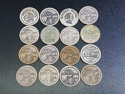 Lot of 12 Vintage Wooden Nickels - Tacoma, Chicago, Idaho, Minnesota & more