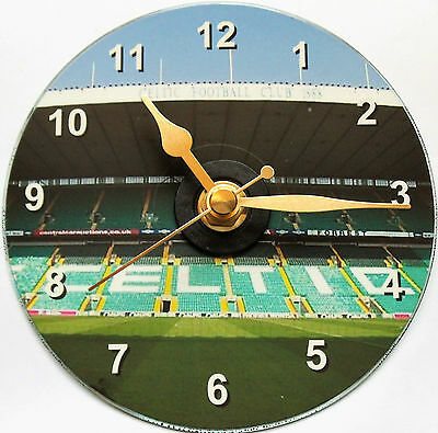Football cd clock with a picture of Celtic Park on clock face