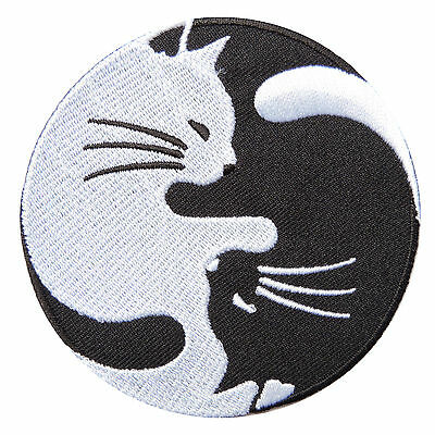 Cat Kitten Kitty Yin Yang Tao Taoism China Chinese Peace Iron-On Patches #AU014