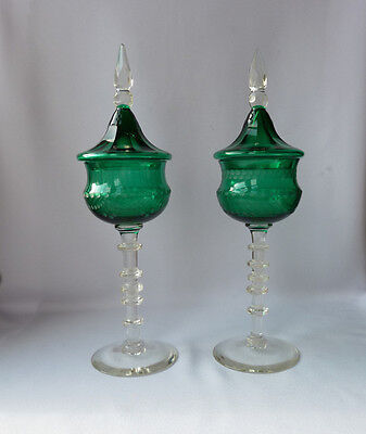 Antique Victorian Sweet Meat Jars on Knopped Stem, Etched, Ornate Lids