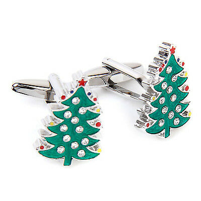 Tree Pattern Cufflinks Cuff Links Birthday Gift Green and Silver BF