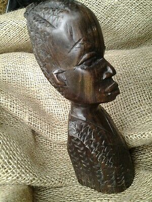 Vintage Tribal African Ebony Carved Female Head Sculpture