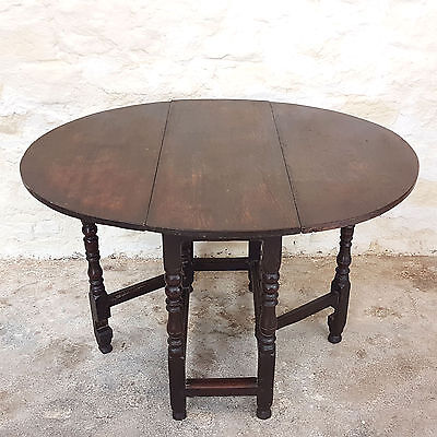 C17th & Later Oak Oval Gateleg Drop Leaf Table (Jacobean Antique)