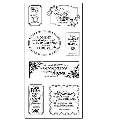 FISKARS Clear cling stamps ALL AROUND QUOTES New for Card making & stamping