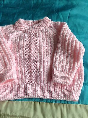 hand knit  baby jumper pink 9/12 mths