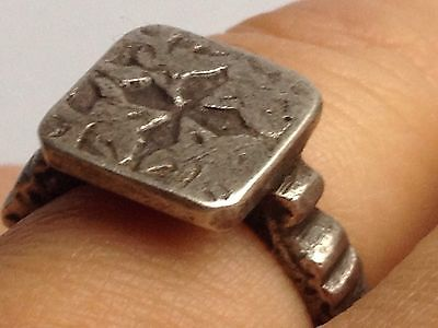 MEDIEVAL 17TH CENTURY SILVER Cross SEAL SIGNET RING