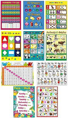 10 X Children's Kids Educational Learning Posters Chart A4 Nursery School Home