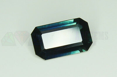 Blue Sapphire Octagon 8x5mm VS 1.19ct Loose Natural Gemstone Parti Blue Yellow