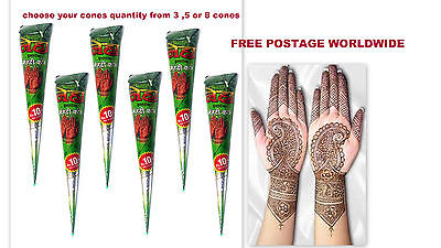 Neha Hina-Henna Mehndi Cones Herbal Temp Tattoo Ink Body Paint choose frm 3/5/8