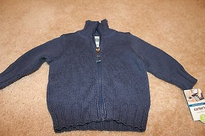 NWT Carters infant boys size 3M navy blue zip up sweater cardigan