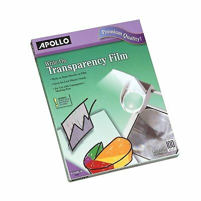 Apollo Write-On Transparency Film, 8.5 x 11 Inches, Clear, 100 Sheets per Box...