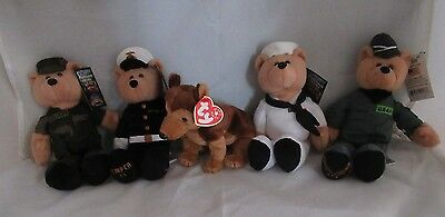 "Limited Treasures (4) 9"" Hero's Collection Stuffed Bear - Army Marines Navy Air"