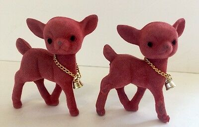 Lot Of 2 Christmas Vtg Flocked Deer Figurines Fuzzy Fawns Kitsch Ornament
