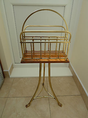 "Pretty Edwardian golden oak & brass revolving magazine rack , canterbury ""Hall"""