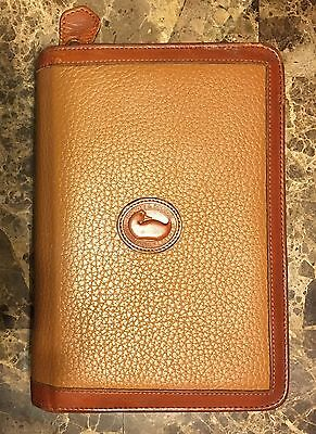"""Rare Vintage Dooney & Bourke Brown Leather Contact/Planner 8"""" X 5.5"""" Zippered"""