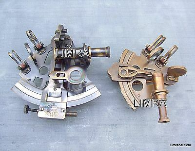 Solid Brass Marine Sextant 3 & 5 Inch Antique Maritime Nautical Sextant