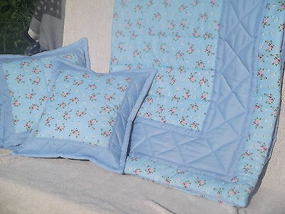 Pale blue vintage rose shabby chic  cot/cotbed quilt and cushion covers