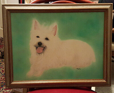 Framed Oil on Canvas Small White Puffy Dog Painting, Signed, Mueller.
