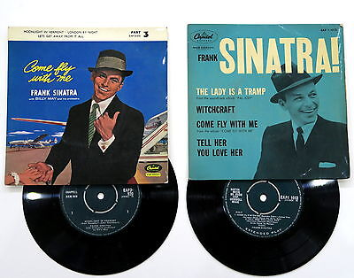"""2x EPs Frank Sinatra - Come Fly With Me, The Lady Is A Tramp 1st PRESS Single 7"""""""
