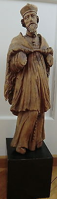 A circa 1700 carved wood ecclesiastical figure (a Bishop), probably Italy