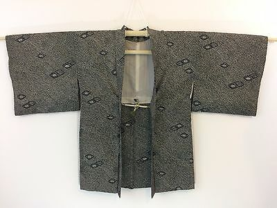 Authentic Japanese black silk haori jacket for kimono, with himo, used (F1114)