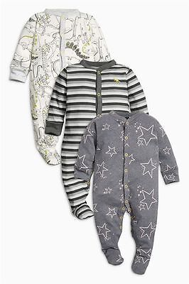 BNWT Baby Boys 3 pk Dinosours Sleepsuits 0-3 months **NEXT**