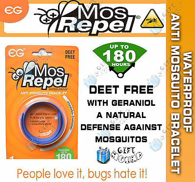 MOS REPEL ANTI MOSQUITO REPELLENT BAND BRACELET SCENTED FOR WRIST/ANKLE -BLUE x1