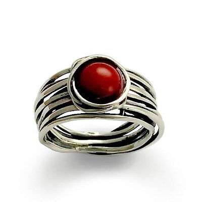 925 Sterling Silver Ring Wrapped Wire with Red Carnelian Handmade Oxidized 12mm