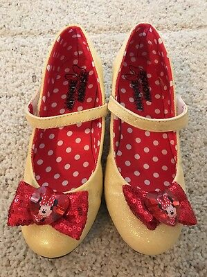 Disney Store Girls Minnie Mouse Yellow Costume Shoes Heels 2/3