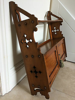 Antique  Gothic Influence Arts And Crafts Wall Cupboard/shelf 63 Cm Wide