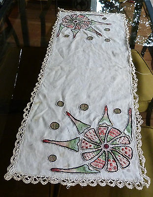 Vintage Mission Arts & Crafts Embroidered Table Cover Runner Wild Amoeba Design!