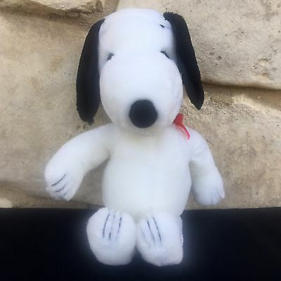 """Vintage 1968 Plush Snoopy 12"""" Red Ribbon Collar Korea Peanuts United Features"""