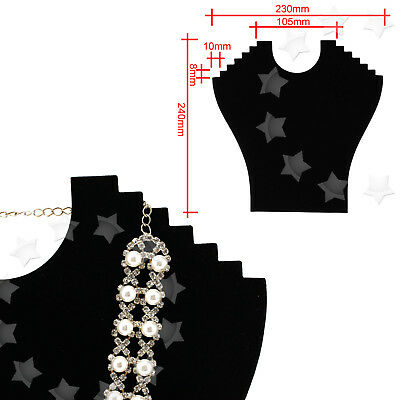 2/4pcs Flocked Chain Jewelry Necklace Shop Display Holder Stand Board Black