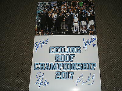 UNC BASKETBALL 2017 CHAMPS Team 4X SIgned 11x17 Photo Ceiling Roof Kennedy Meeks