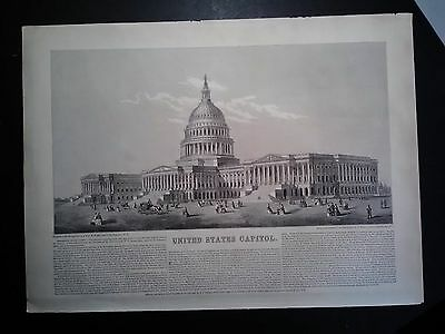 Original Johnson's 1863 Engraving Of The United States Capital