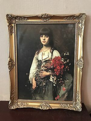 A A Harlamoff. The Flower Girl. Painting. Art Work