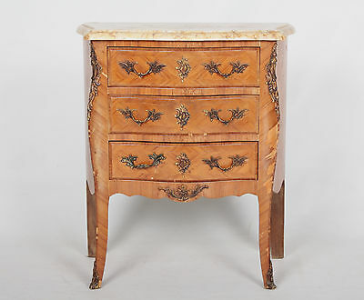 Antique French Marble Kingswood Bedside Table Cabinet