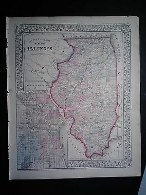 Original Mitchell's 1867 Map of Illinois (Insert of the plan of Chicago)