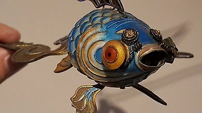 Articulated KOI Fish~Chinese,Sterling Silver w Gild,Cloisonné Enamel Filigree