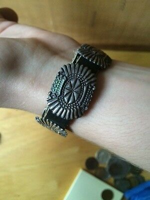 VINTAGE Indian Bracelet With Sterling Silver Conchos Pawn 1960's On New Strap