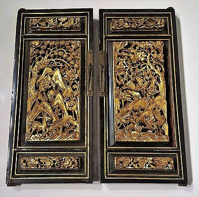 PAIR of ANTIQUE CHINESE CARVED Gilt Wood Cabinet Doors/Wood Panels~ Qing Dynasty