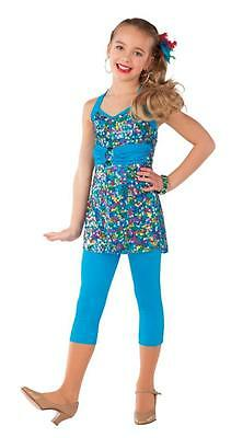 Dance Costume Large Child Blue Sequin 2pc Jazz Tap Solo Competition Pageant
